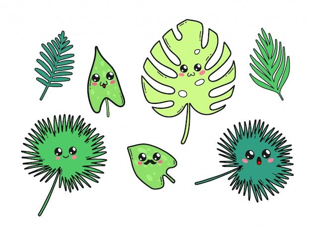 Leuke tropische bladeren die in de kawaiistijl van japan worden geplaatst. gelukkig doorbladert beeldverhaalkarakters met grappige geïsoleerde gezichten