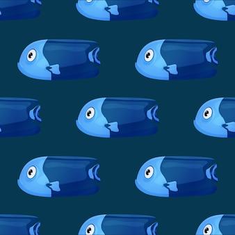 Leuke tropische vissen op donkere achtergrond. felgekleurde oceaanvissen. onderwater zeeleven. naadloze patroon.