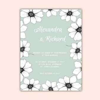 Leuke trouwuitnodiging met met de hand getekende bloemen
