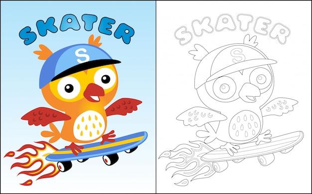 Leuke uil cartoon de skateboarder