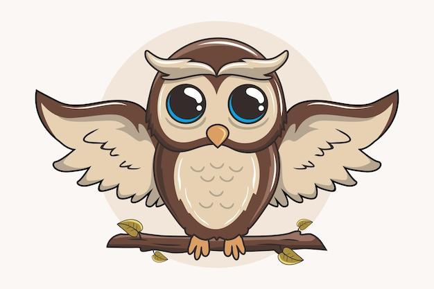 Leuke uil cartoon vogel open vleugels