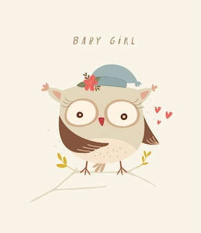 Leuke uil illustratie baby kinderkamer print