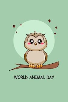 Leuke uil in cartoonillustratie van werelddierendag