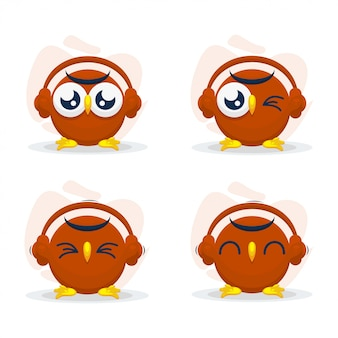 Leuke uil met headset mascot cartoon vector