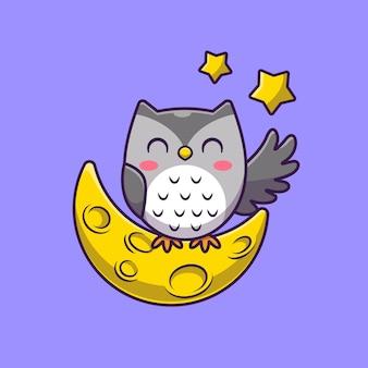 Leuke uil met maan en sterren cartoon pictogram illustratie.