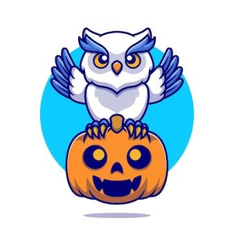 Leuke uil met pompoen halloween cartoon afbeelding. platte cartoon stijl