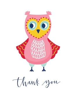 Leuke uil of uil en dank u zin handgeschreven met cursief kalligrafisch lettertype. grappige schattige wijze bosvogel. kleurrijke vectorillustratie in vlakke stijl voor t-shirt, sweatshirt kleding print.