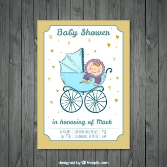Leuke uitnodiging baby shower met kind op de wandelwagen