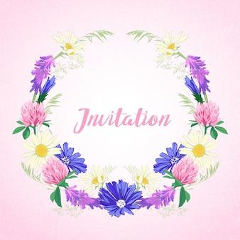Leuke uitnodiging met bloemen krans.