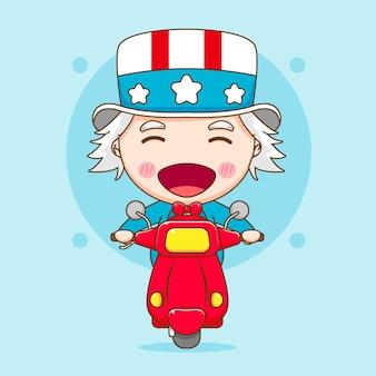 Leuke uncle sam rijden motorfiets cartoon karakter illustratie