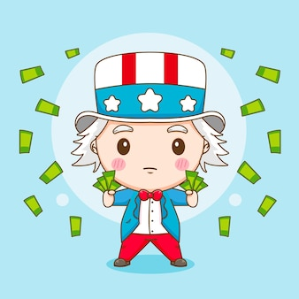 Leuke uncle sam zakgeld cartoon karakter illustratie