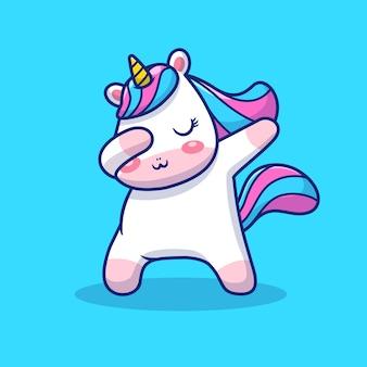 Leuke unicorn dabbing illustratie. unicorn mascotte stripfiguur. dierlijk concept geïsoleerd