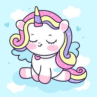 Leuke unicorn pegasus cartoon zit op wolk kawaii dier