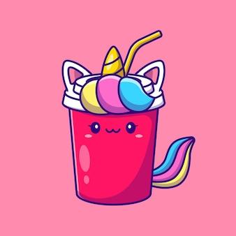 Leuke unicorn soda cartoon afbeelding. dierlijke drank concept geïsoleerd. platte cartoon