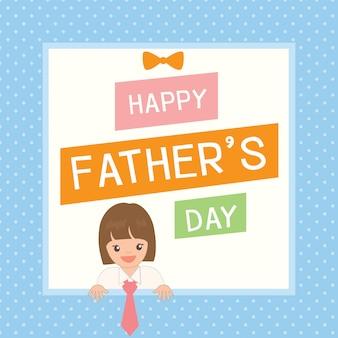 Leuke vaderdagkaart met meisjeskleding tot haar vader