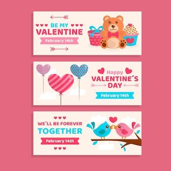 Leuke valentijnsdag banners plat ontwerp