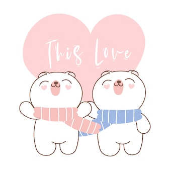 Leuke valentijnsdag beer paar.
