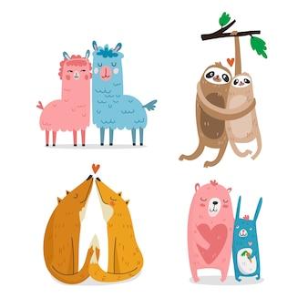 Leuke valentijnsdag dierlijke paar set
