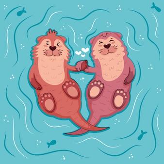 Leuke valentijnsdag dierlijke paar