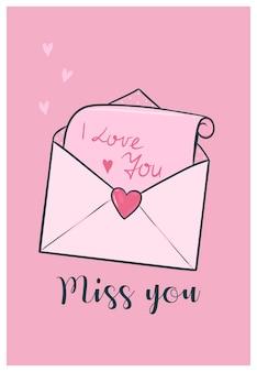 Leuke valentijnsdag kaart met liefdesbrief.