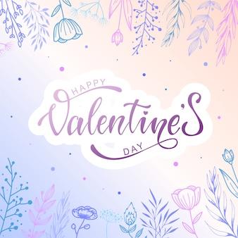Leuke valentijnsdag kaart Premium Vector