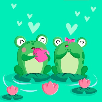 Leuke valentijnsdag kikker paar