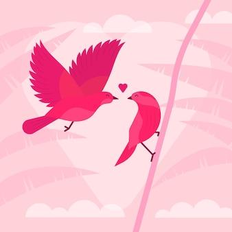 Leuke valentijnsdag vogels paar Gratis Vector