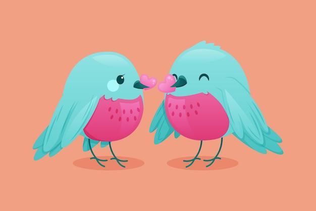 Leuke valentijnsdag vogels paar