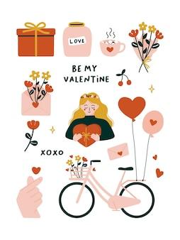 Leuke valentijnsdagelementen met fiets, boeket, liefdesflespot, bloeiende rode bloemen, vingerhart, envelop, warme chocolademelk, geschenkdoos, vrouw, ballonnen.