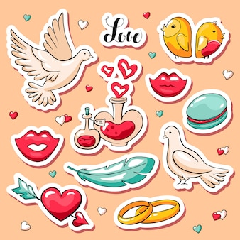 Leuke valentijnsdagstickers in krabbelstijl
