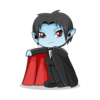 Leuke vampier cartoon ontwerp illustratie