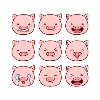 Leuke varken emoticon set