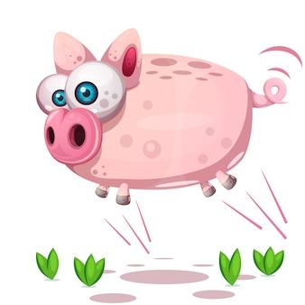Leuke varkenssprong. symbool van het jaar 2019.