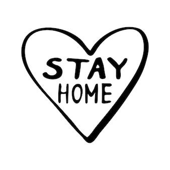 Leuke vector handgetekende letters over coronavirus, covid-19, blijf thuis, werk thuis. pandemische bescherming. positieve doodle pictogrammen in quarantaine, huiselementen. geïsoleerd op een witte achtergrond.