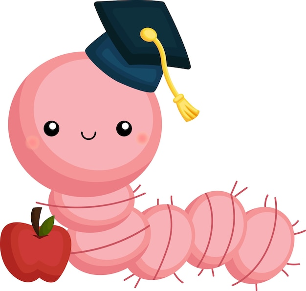 Leuke vector van een wormmascotte die afstudeert