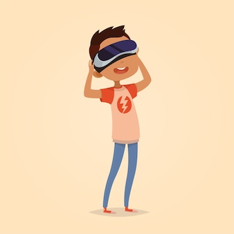Leuke vectorillustratie voor kinderen. cartoon stijl. geïsoleerde karakter. moderne technologieën voor kinderen. jongen met virtual reality-apparaat.