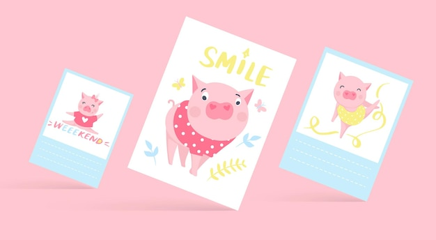 Leuke vectorkaarten met grappige varkens. varken illustratie geïsoleerd op wit. tekenfilm dieren. vrolijke piggy-collectie.
