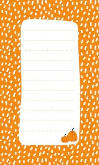 Leuke vectornotitielijstsjabloon voor kinderen memokaart op oranje achtergrond met pompoenen