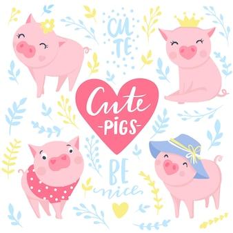 Leuke vectorstickers met grappige roze varkens. elementen voor nieuwjaarsontwerp. symbool van 2019 op de chinese kalender. varken illustratie geïsoleerd op wit. tekenfilm dieren badges.