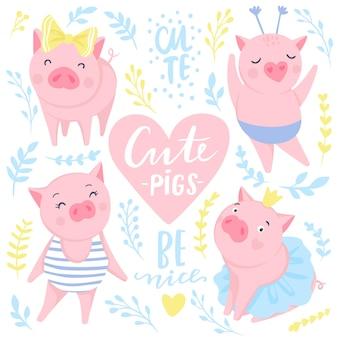 Leuke vectorstickers met grappige roze varkens. symbool van 2019 op de chinese kalender. varken illustratie geïsoleerd op wit. voor posters, spandoeken, ansichtkaarten, kinderbadges. stijl van strips, tekenfilms.