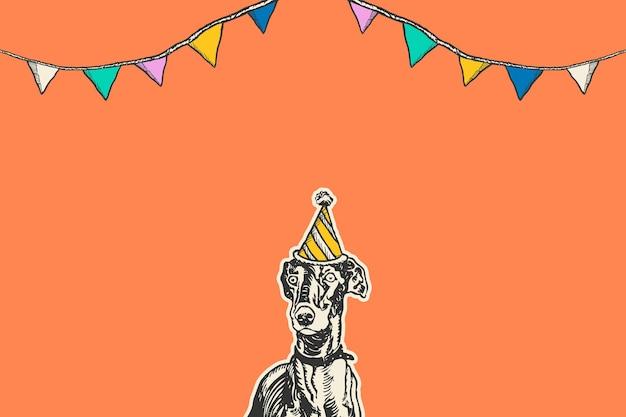 Leuke verjaardag oranje achtergrond met vintage windhond hond in feest kegel hoed