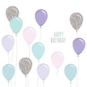 Leuke verjaardagskaart met ballonnen.