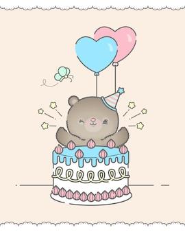 Leuke verjaardagskaart met beer en cake premium vector