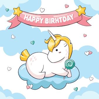 Leuke verjaardagskaart met dikke eenhoorn
