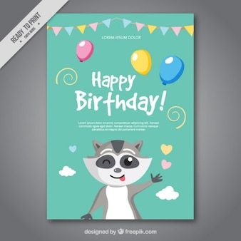 Leuke verjaardagskaart met een wasbeer