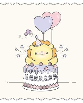 Leuke verjaardagskaart met leeuw en cake premium vector