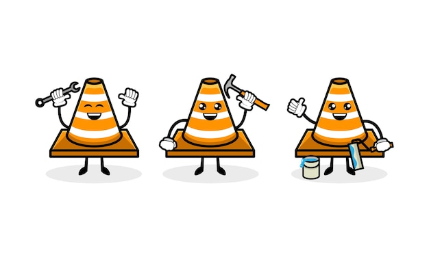Leuke verkeerskegel mascotte ontwerp illustratie vector sjabloon