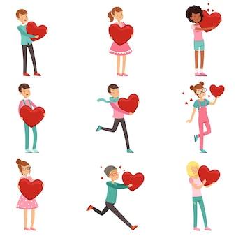 Leuke verliefde mensenkarakters die met document rode harten in handen worden geplaatst. schattige cartoon illustratie van mannen en vrouwen verliefd op kaart, poster of print. voorbereiding op valentijnsdag. op wit.