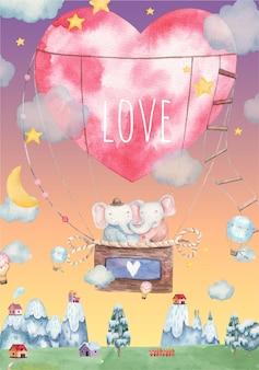 Leuke verliefde olifanten die in een hete luchtballon vliegen die een hartvormige jurk dragen, kinderillustratie voor valentijnsdag