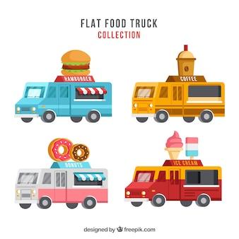Leuke verscheidenheid aan platte voedselwagens